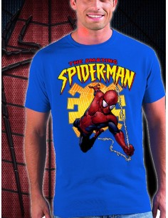 Camiseta Amazing Spiderman diseño Spider color azul unisex