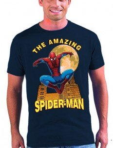 Camiseta Spider-man modelo Moon color azul Marino unisex