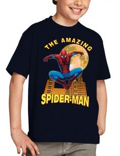 "Camiseta Spiderman niño modelo ""Moon"" color azul marino unisex"