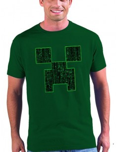 Camiseta Minecraft Creeper-Matrix color negro manga corta