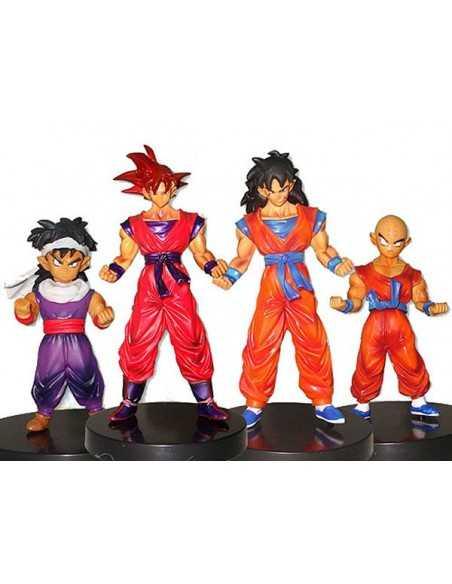 Pack 4 figuras Dragon Ball Z Son Gohan, Krilin, Goku y Yamcha- base negra