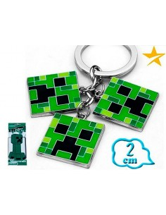 Llavero Minecraft 3 Creeper pixel