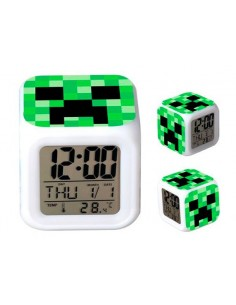 Reloj Minecraft Creeper multifunción con despertador