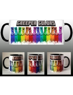 Taza Minecraft Creeper colors