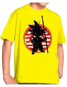 Camiseta Dragon Ball niños- Son Goku Bastón
