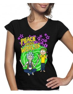 Camiseta Rick y Morty de mujer Peace Among Worlds