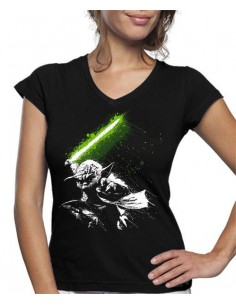 Camiseta de mujer Star Wars Yoda Fight